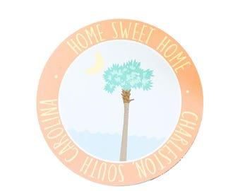 Charleston Magnet, Home Sweet Home, Gift Idea, Wedding Gift, Charleston SC, Palm Tree, Palmetto Tree, Beach, Summer, Pastel