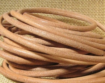 Summer Sale - 25% off 4.5mm Round European Leather - Natural - 4.5M-6 - Choose Your Length