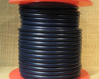 Premier Italian Leather - 5mm Round - Navy Blue - 5RP-11 - Choose Your Length