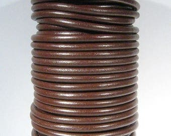 Dark Brown European 5mm Round Leather - Choose Your Length