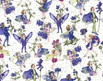 1 yard - Petite Fairies in Periwinkle, Michael Miller Fabrics
