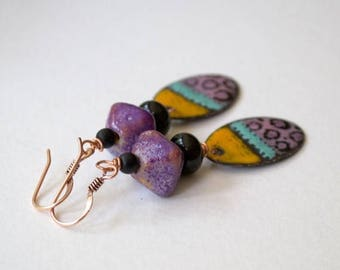 SALE Colorful Enamel Dangle Earrings, Artisan Earrings, Artisan Lampwork, Purple Earrings, Spotted Earrings, Oval Earrings, Funky Boho Earri