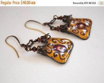 SALE Yellow Enamel Earrings, Flourish Earrings, Purse Earrings, Moorish Inspired, Red Earrings, Artisan Enamel, Unique Artisan Earrings,