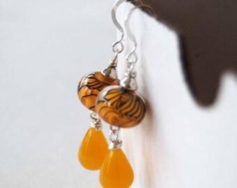 SALE Yellow Earrings, Lampwork Glass Earrings, Teardrop Earrings, Wire Wrapped Earrings, Beaded Earrings