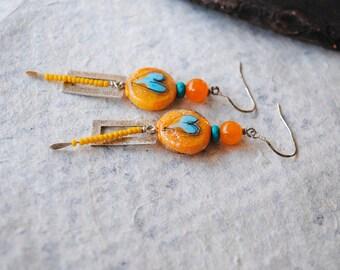Blue Heart Earrings, Valentine Heart Jewelry, Lampwork Bead Earrings, Yellow Earrings, Valentine Heart Earrings,