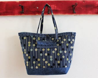 Small Upcycled Snap Tote, Salvaged Upholstery, Blue Dot Denim