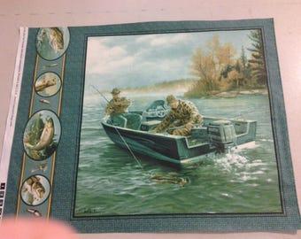 fabric Panel of Fishermen in Boat 249689