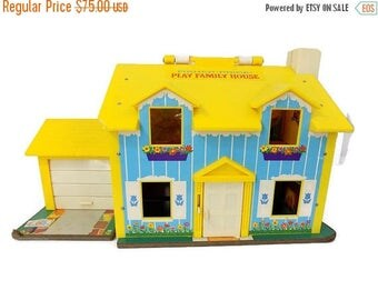 SALE Vintage Fisher Price Little People Play Family  House Yellow 952 1969 Wood People Complete