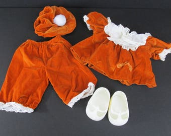 Cabbage Patch Kids Doll Clothes Rust Brown Velvet Shirt Pants Hat and Mary Jane Shoes