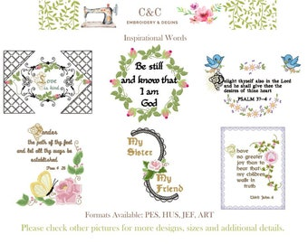 Inspirational Words - Set of 13 Embroidery Designs - Instant Download - 5x7 Hoop