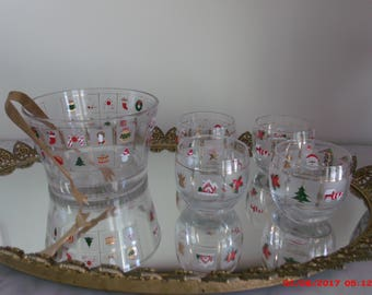 Vintage Mid Century Christmas Culver Roly Poly Rocks Glasses  Ice Bucket Easmes Era