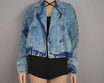 80s Acid Wash Denim Jacket Light Wash Denim Double Breasted Jean Jacket Size 11/12 Large 80s Clothing Epsteam