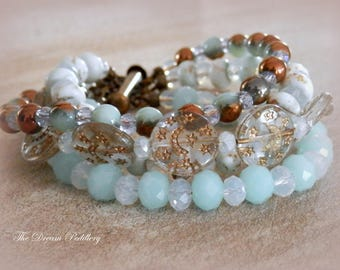 Moon and Stars Bracelet. Crystal, Turquoise and Opalite