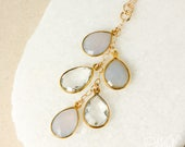 Gold Lavender Chalcedony, Pink Chalcedony, and Crystal Quartz Waterfall Necklace - Choose Your Pendant