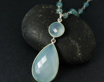 ON SALE Aqua Blue Chalcedony Necklace on Blue Aquamarine Chain - Spring Jewelry - Something Blue