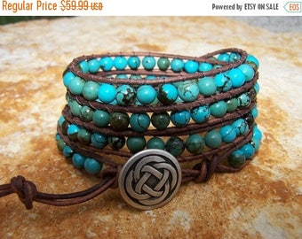 SALE 60% OFF Celtic Knot Turquoise Beaded Leather Wrap Bracelet