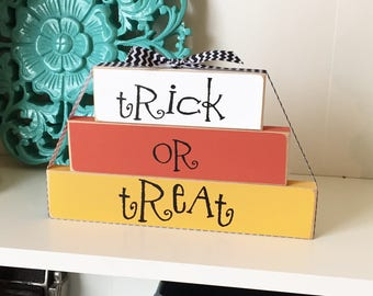 Trick or Treat Sign- Halloween Decor, Halloween Wood Sign, Halloween Wood Decor, Wood Halloween Sign, Wood Halloween Blocks, Trick or Treat