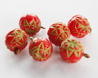 Vintage Opaque Red Glass Pendant Beads • Geometric Etched Design • 12mm