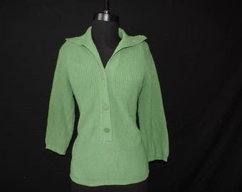 1950s Jantzen sweater green knit pullover wide collar long body large