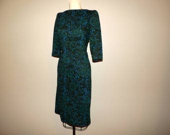 50s floral jersey dress blue and green soft knit fitted day dress vintage 1950s VLV frock medium