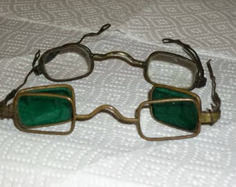 Antique Civil War Glasses One with Fold Back Green Lens / Rare