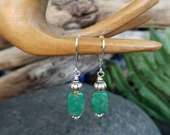 Natural Turquoise Earrings, Silver Drop Earrings, Green Turquoise, Rustic Bohemian, Boho, Earthy, Dangle, Simple, Southwestern, Leverback