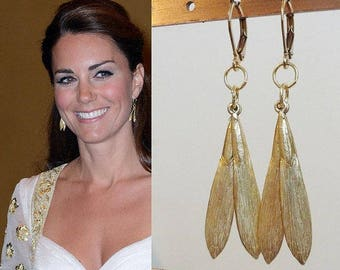 Kate Middleton Inspired Gold Double Leaf Earrings
