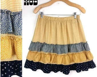 Vintage Adorable & Comfy Blue, Yellow Floral Cotton Tiered Ruffle Skirt