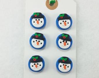 Snowman Buttons - Handmade Polymer Clay Buttons -7217
