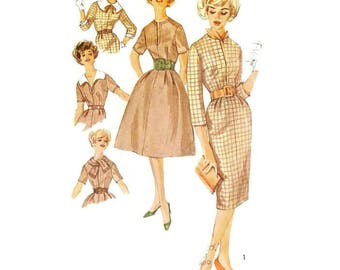 1950s/60s Sheath Dress or Fit and Flare Dress Pattern Simplicity 3153 B36 Sz16
