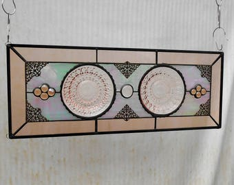 Stained Glass Panel with Pink Depression Glass Jeannette Holiday Plates, Antique Stained Glass Transom Window,  Vintage Glass Window Valance