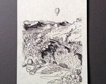sketchbook print - Sonoran Desert vista 5x7 digital print