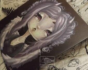 Original purple VAMPIRE Fairy lowbrow art painting gothic pop surreal