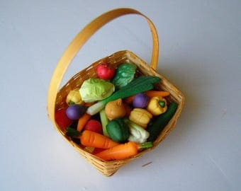 Miniature Vegetable Basket Assorted Fake Food 1/8 scale Dollhouse Kitchen