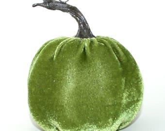 Green Velvet Pumpkin - Table Topper, Garlands, Wreaths, Halloween, Thanksgiving, Fall Floral