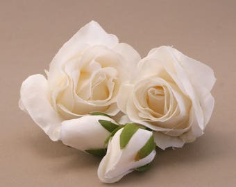 4 White Garden Roses - Bud to Bloom - Artificial Flowers, Silk Flower Heads