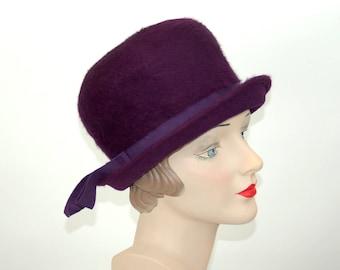 1960s purple hat felt fur Merrimac Union Made Kurtz tall mod fur hat Size 21.5