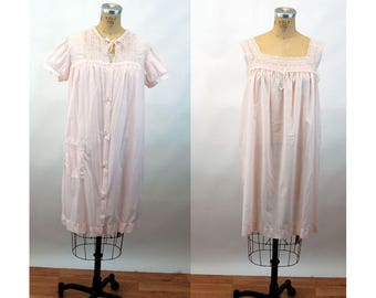 Vintage nightgown and robe embroidered with lace cotton blend semi sheer Size M