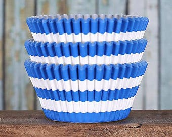 Royal Blue Stripe Cupcake Liners, BakeBright Cupcake Liners, Blue Cupcake Liners, Blue Baking Cups, Cupcake Cases, Cupcake Wrappers (50)
