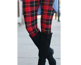 ONE SIZE Red Plaid Winter Leggings Fits sizes 2-12