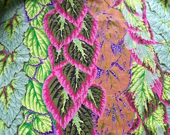 Philip Jacobs OOP, rare, Begonia Columns, green, by the half yard, Kaffe Fassett OOP leafy fabric
