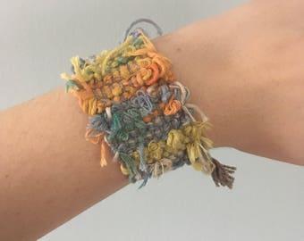 Handwoven RepurposedCotton  Bracelet // multicolored / yellow/ green / orange / gray / upcycled / zero waste / sustainable / boho