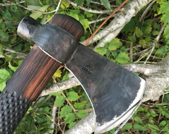 Hand forged Axe with hammer poll, camp axe, throwing tomahawk, war axe