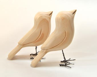 2 Unfinished Birds Wood Carvings Wooden Bird Fall Decor Craft Supplies Cabin Decor Grandma Gift, Adult Craft, Painting Supplies