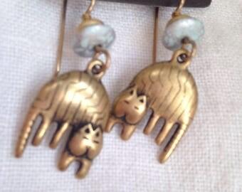 Laurel Burch Dangling Cat Earrings on Original Card Brass Bead