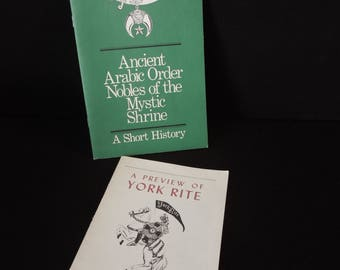Mason Shriner Memorabilia Vintage - Ancient Arabic Order Nobles of the Mystic Shrine / A Preview of York Rite Pamphlet