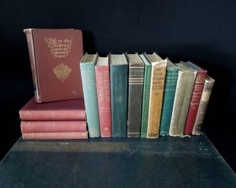 French History Books Historical  - 14 Rustic Books for Decor - Home Staging Library - Antique Vintage Literary Gift