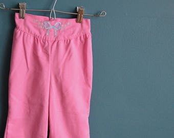 Vintage 1980s Pink Girl's Pants with Embroidered Waistband - Size 5