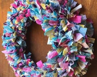 Fabric Scrap Wreath in  Spring Colors - Teal, Pink, Purple, and Yellow