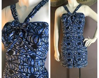 50s swimsuit vintage 1950s BLUE TIKI PRINT Jantzen nylon vlv bomshell bathing swim play suit 40